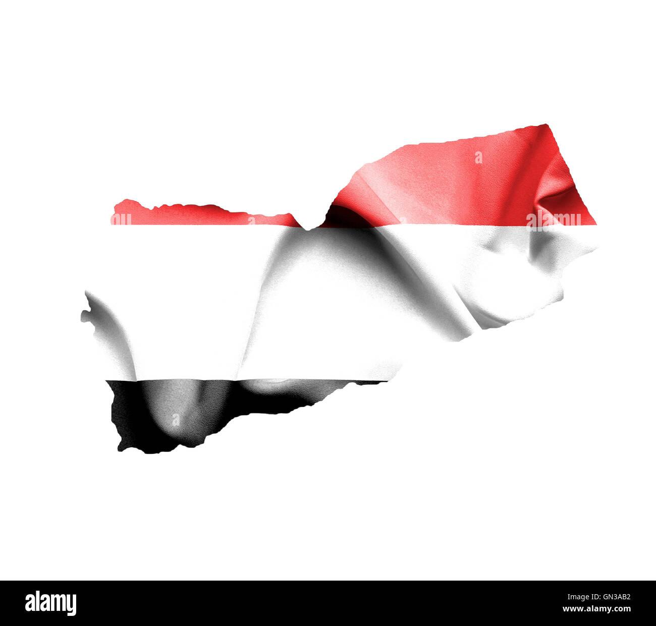 Map of Yemen with waving flag isolated on white - Stock Image