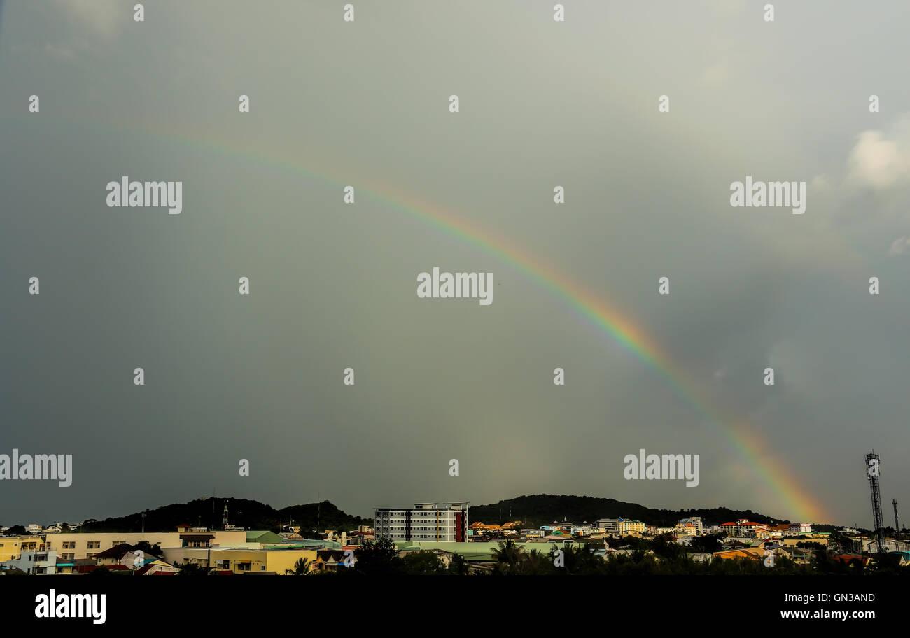 Rainbow sky after rain cloud gray. - Stock Image