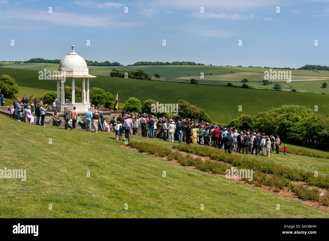 People gather at The Chattri to honour the memory of First World War Indian soldiers who died from their injuries - Stock Image