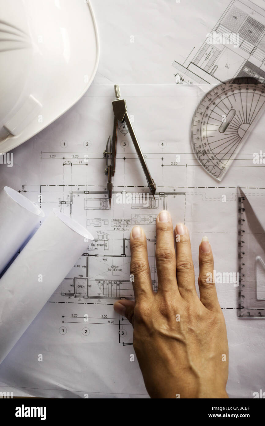 architect, architecture, blueprint,engineer,construction,creative,idea, interior,workspace, writing,engineering,project Stock Photo