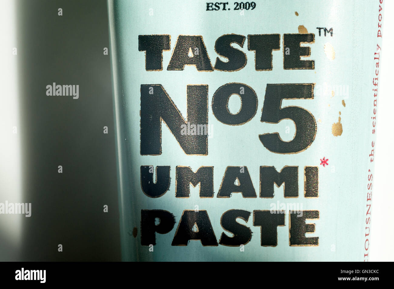 A tube of umami paste, also known as taste number five. - Stock Image