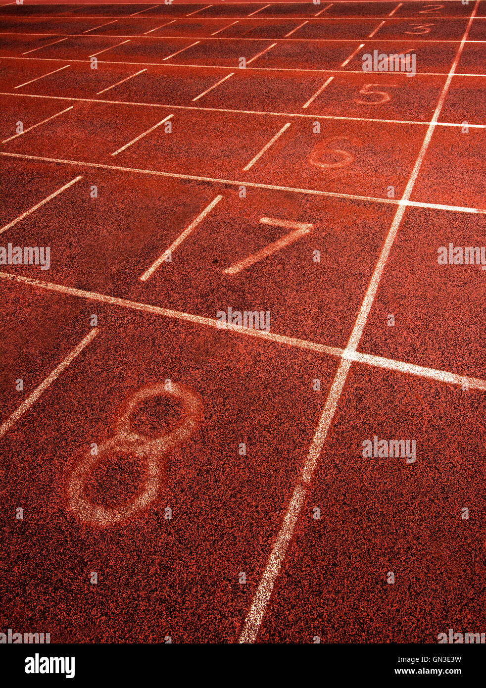 Markings on an athletics track - Stock Image
