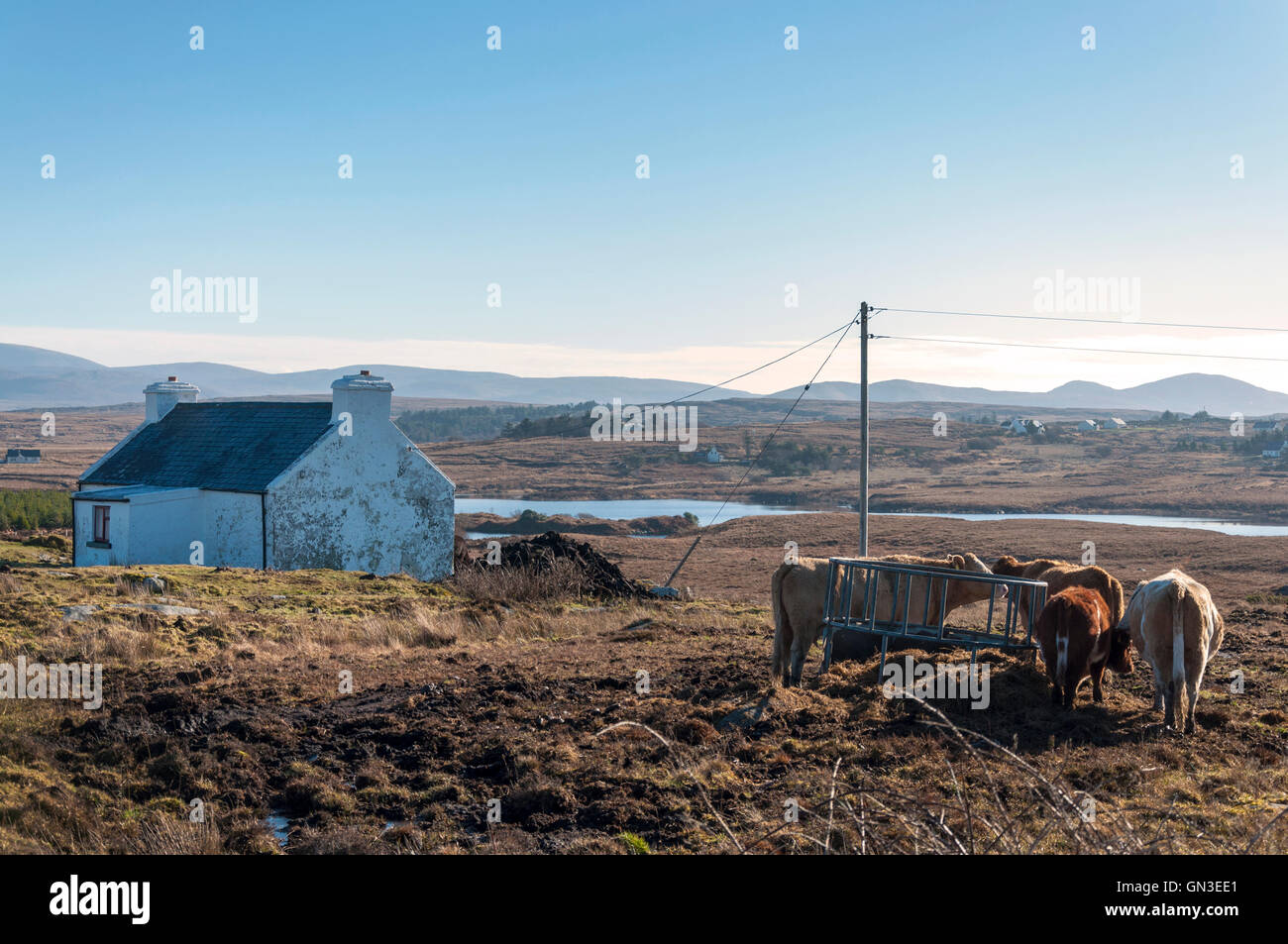 Small farm near Burtonport in rural County Donegal, Ireland - Stock Image