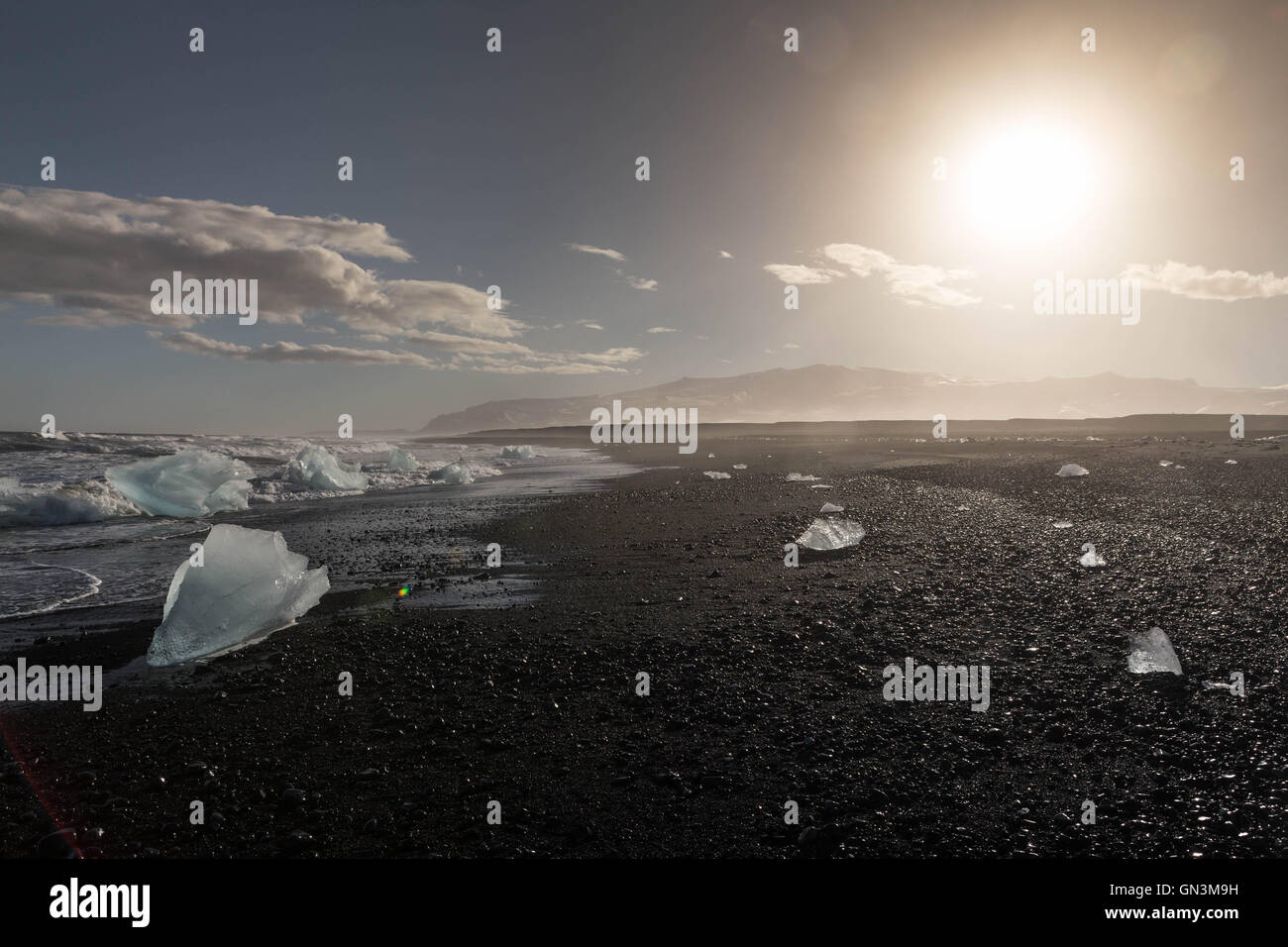 Jokulsarlon Ice Lagoon Beach, Iceland - Stock Image