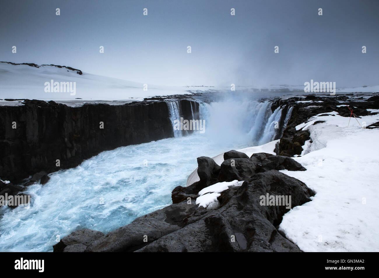 Godafoss, Waterfall, Iceland Landscapes - Stock Image
