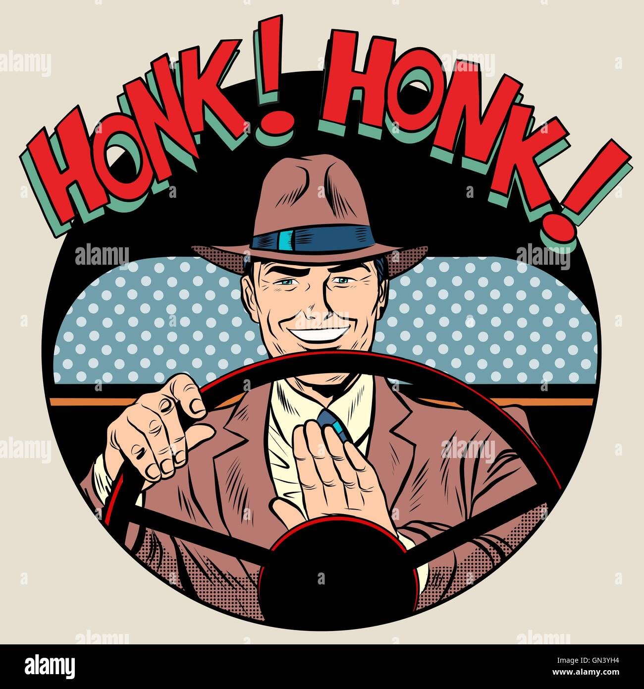 honk vehicle horn driver man - Stock Image