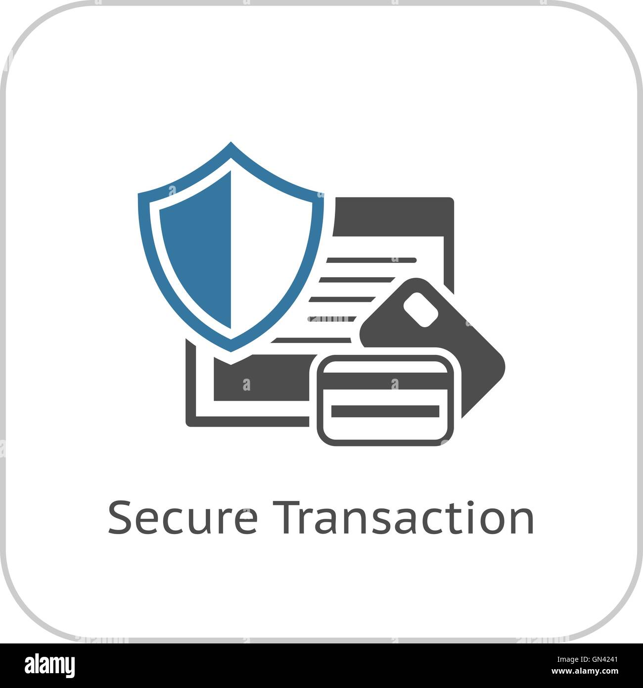 Secure Transaction Icon. Flat Design. - Stock Image