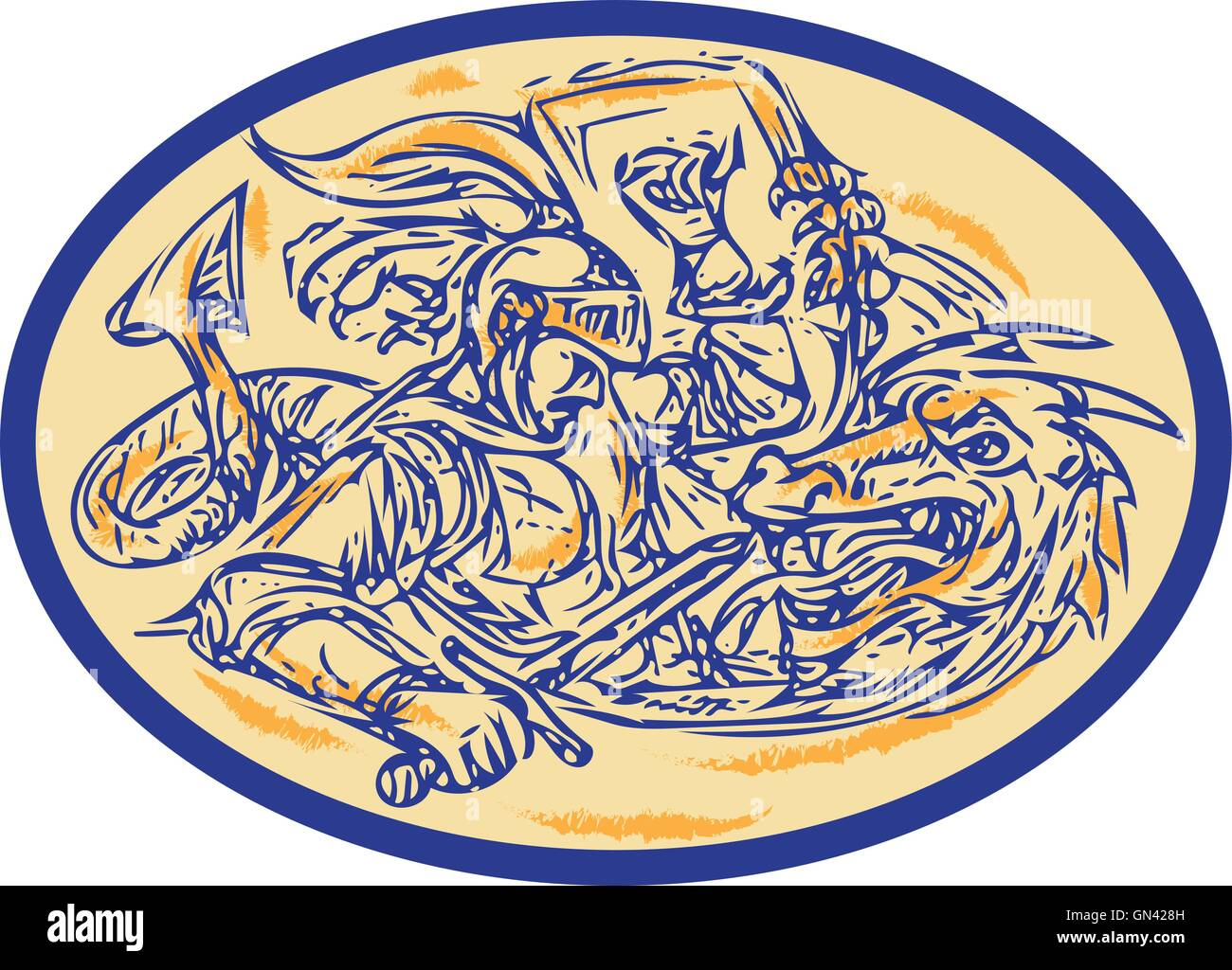 St George Fighting Dragon Drawing - Stock Vector