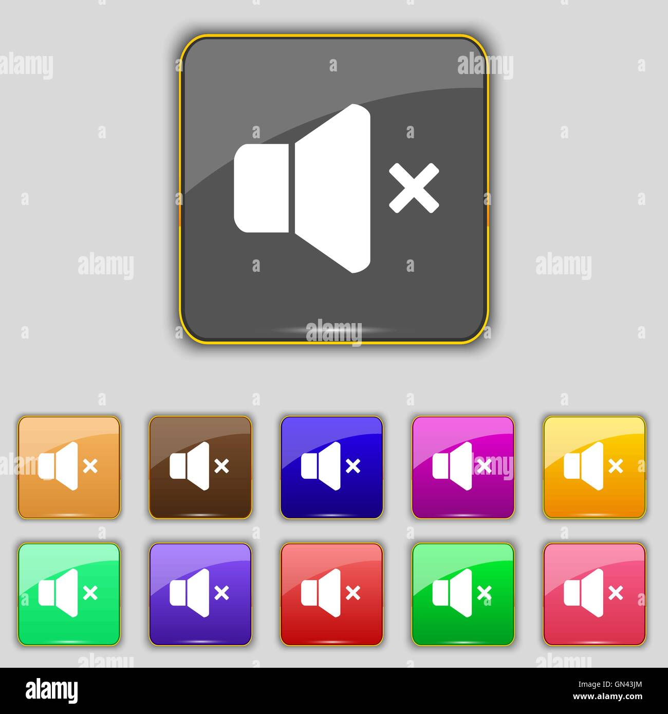 No Volume icon sign. Set with eleven colored buttons for your site. Vector Stock Vector