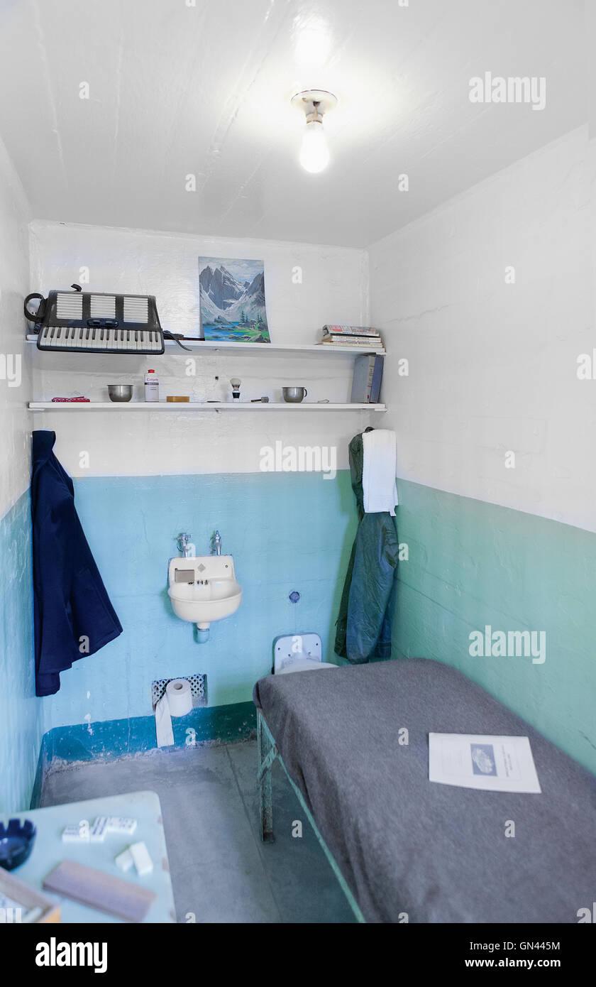 Prison cells, Alcatraz Island, The Rock, San Francisco, California, United States of America.  Alcatraz Island is Stock Photo