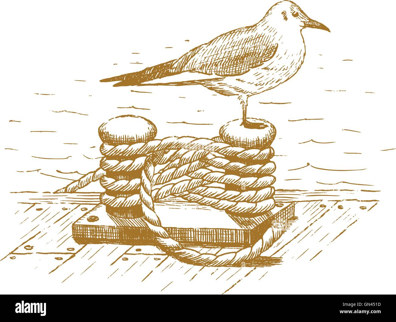 Seagull sitting on a bollard drawn by hand - Stock Vector