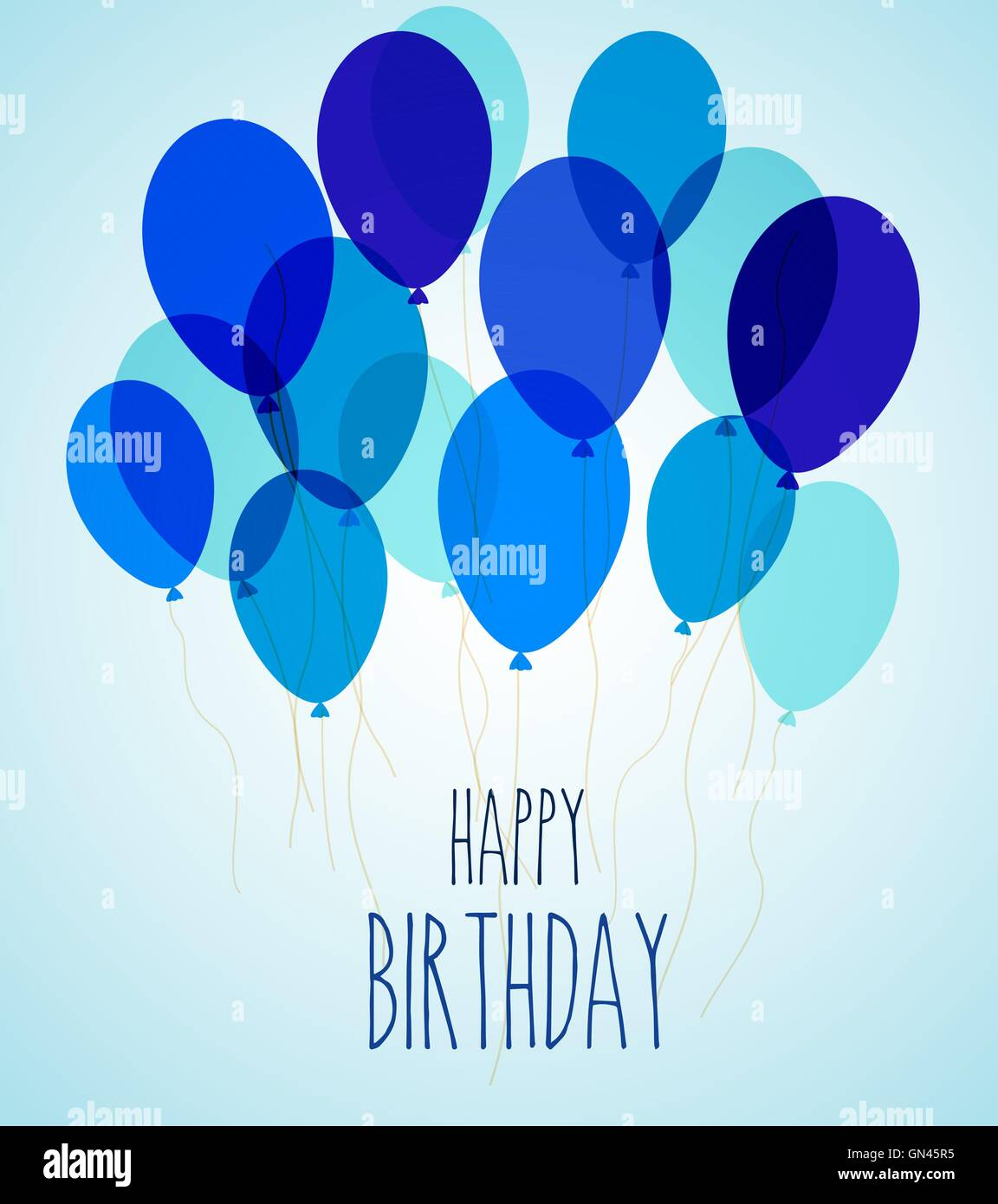 Birthday party balloons in blue - Stock Image
