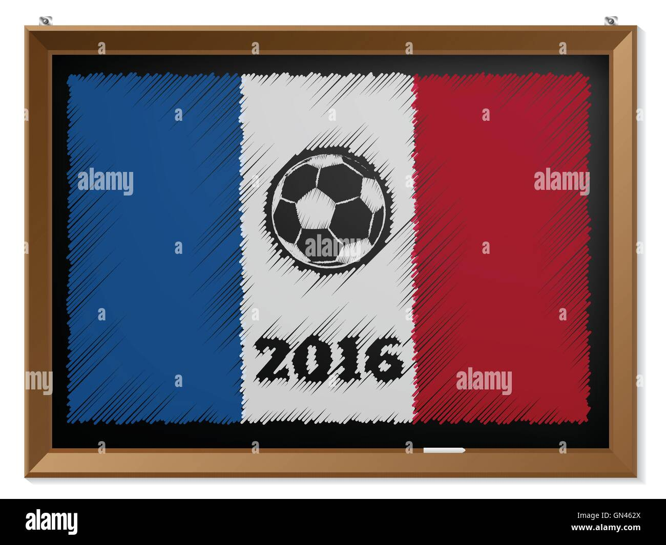 France flag and soccerbal on chalkboard - Stock Image