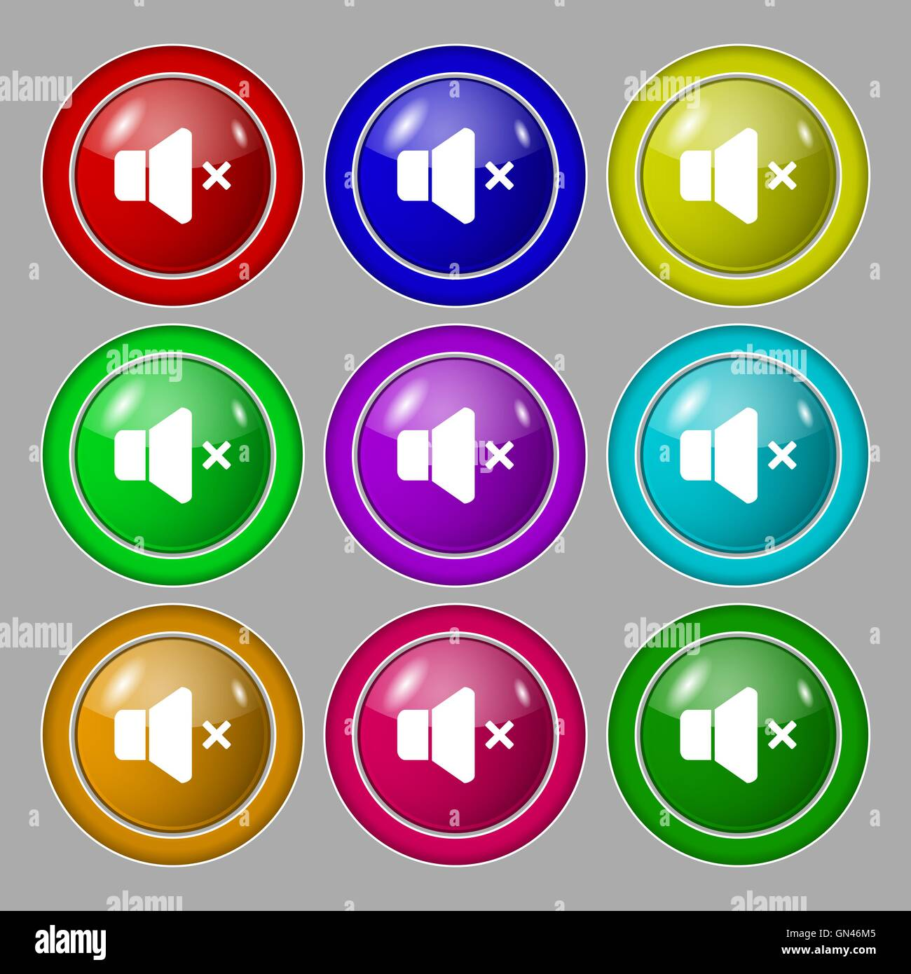 No Volume icon sign. symbol on nine round colourful buttons. Vector Stock Vector