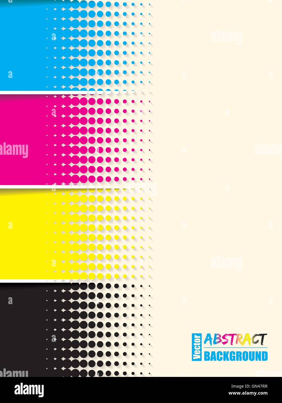 Abstract cmyk halftone background template - Stock Image