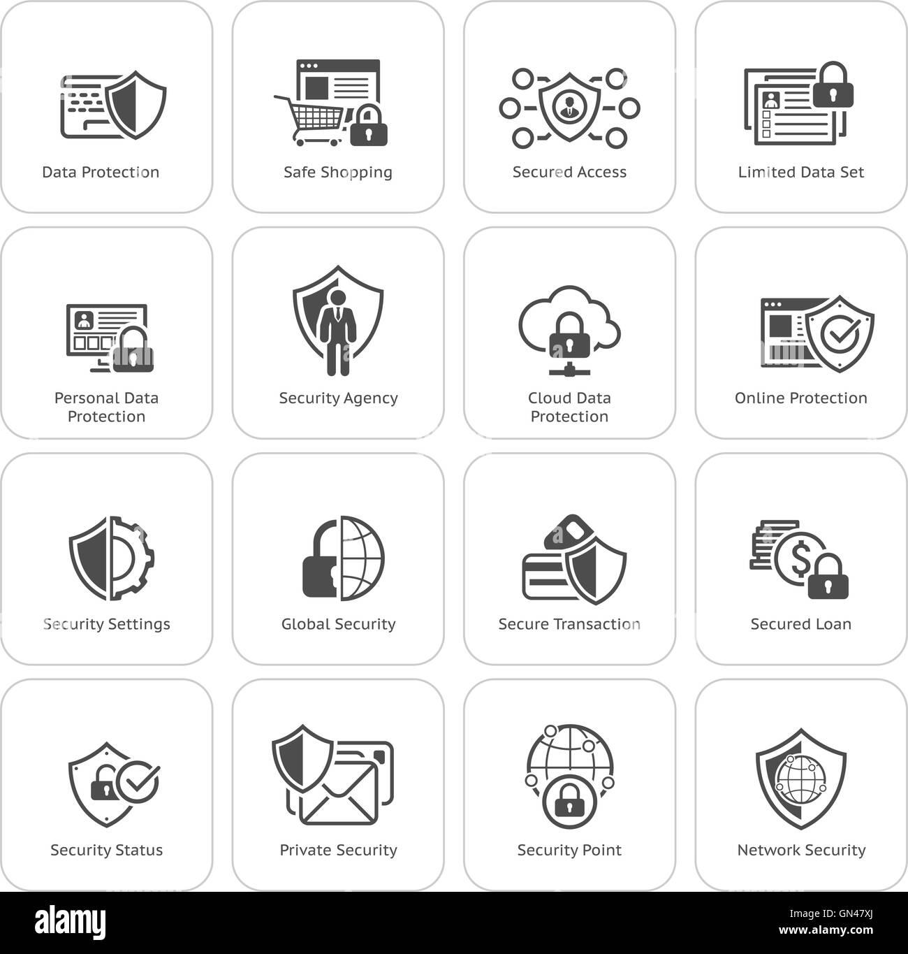 Flat Design Protection and Security Icons Set. - Stock Image