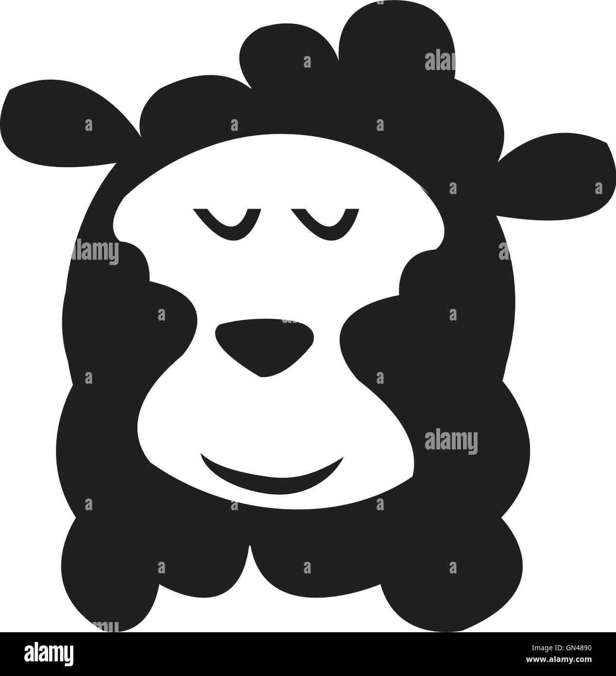 Vector. Isolated cartoon sheep head. - Stock Image