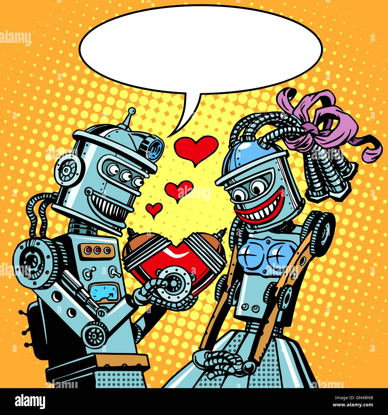 Robots man woman love Valentines day and wedding Stock Vector