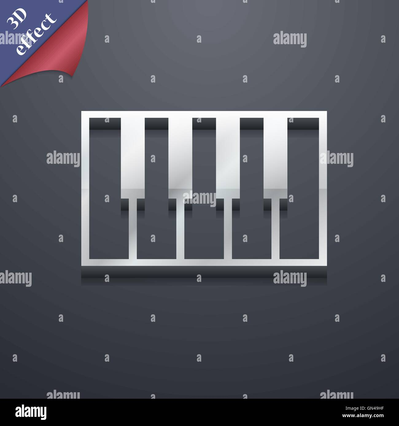 Piano Key Icon Symbol 3d Style Trendy Modern Design With Space