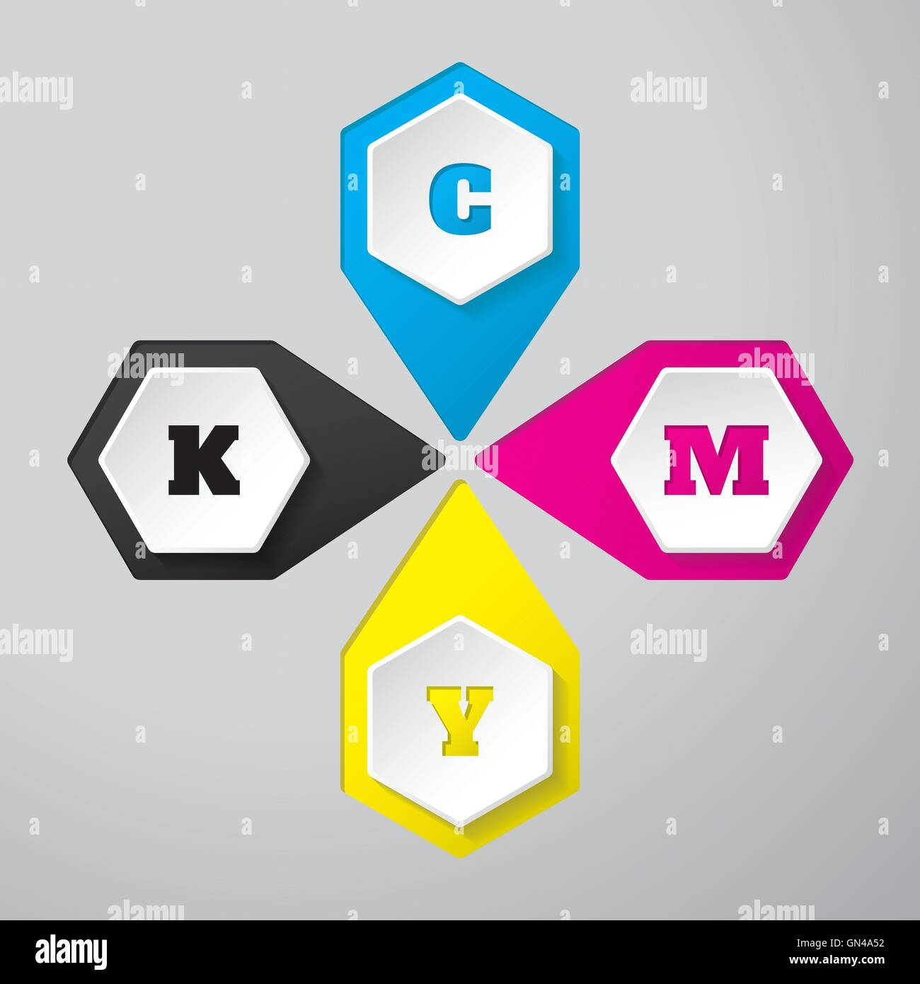 Cmyk wallpaper with 3d hexagon buttons - Stock Image