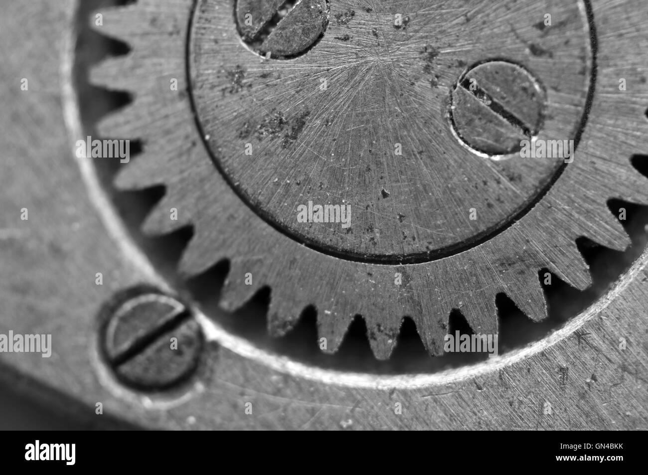 Black and white Metal Cogwheels in Old Clockwork, Macro. Concept Teamwork , Idea Technology - Stock Image