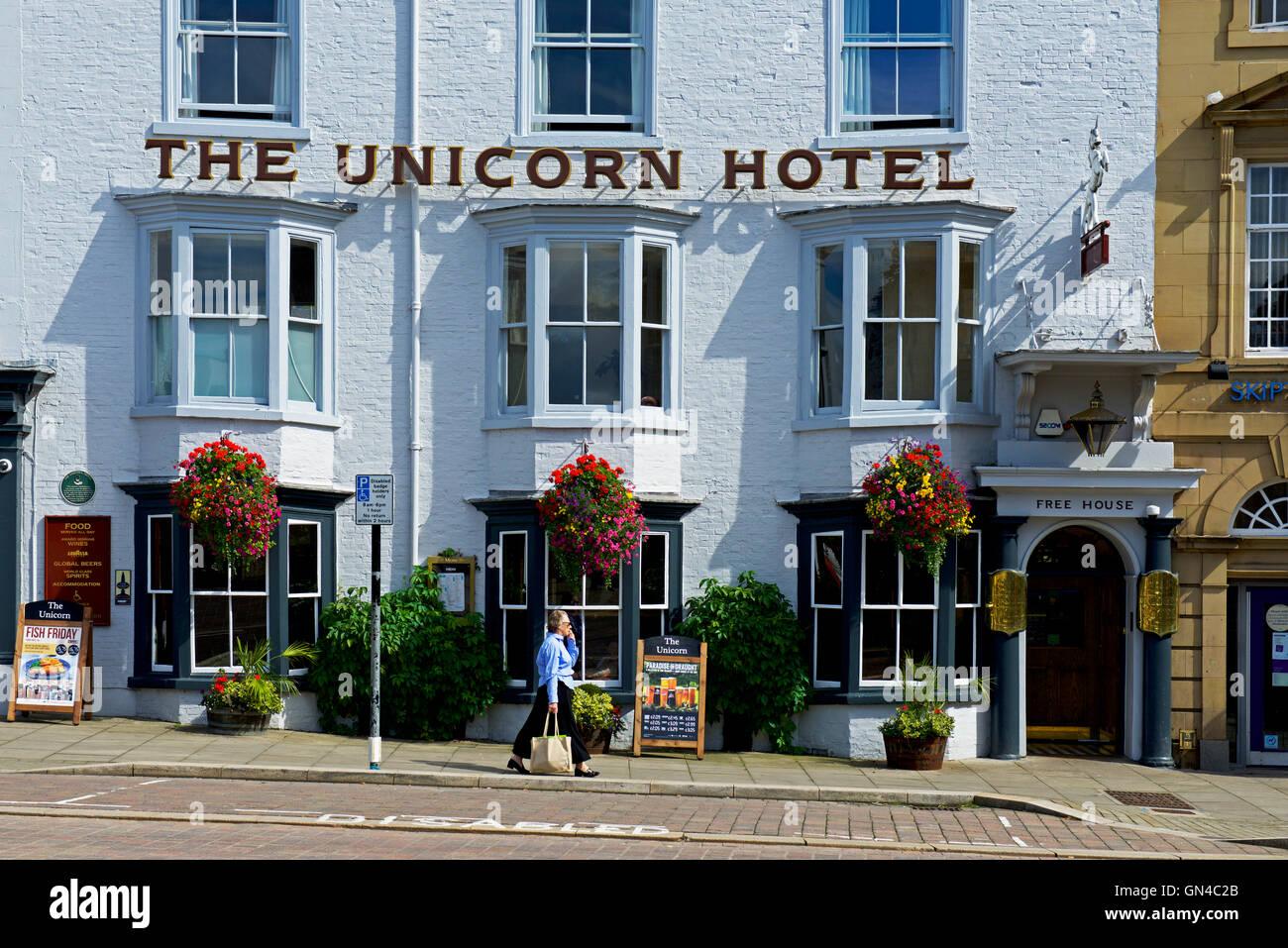 The Unicorn hotel, a Wetherspoon pub in Ripon, North Yorkshire, England UK - Stock Image