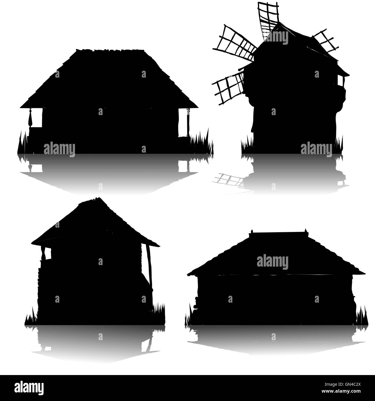 eco houses silhouettes - Stock Image