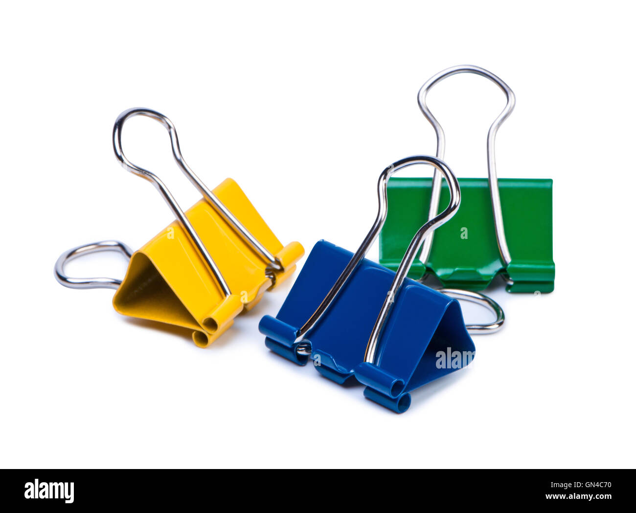Color paper clips on white background. - Stock Image