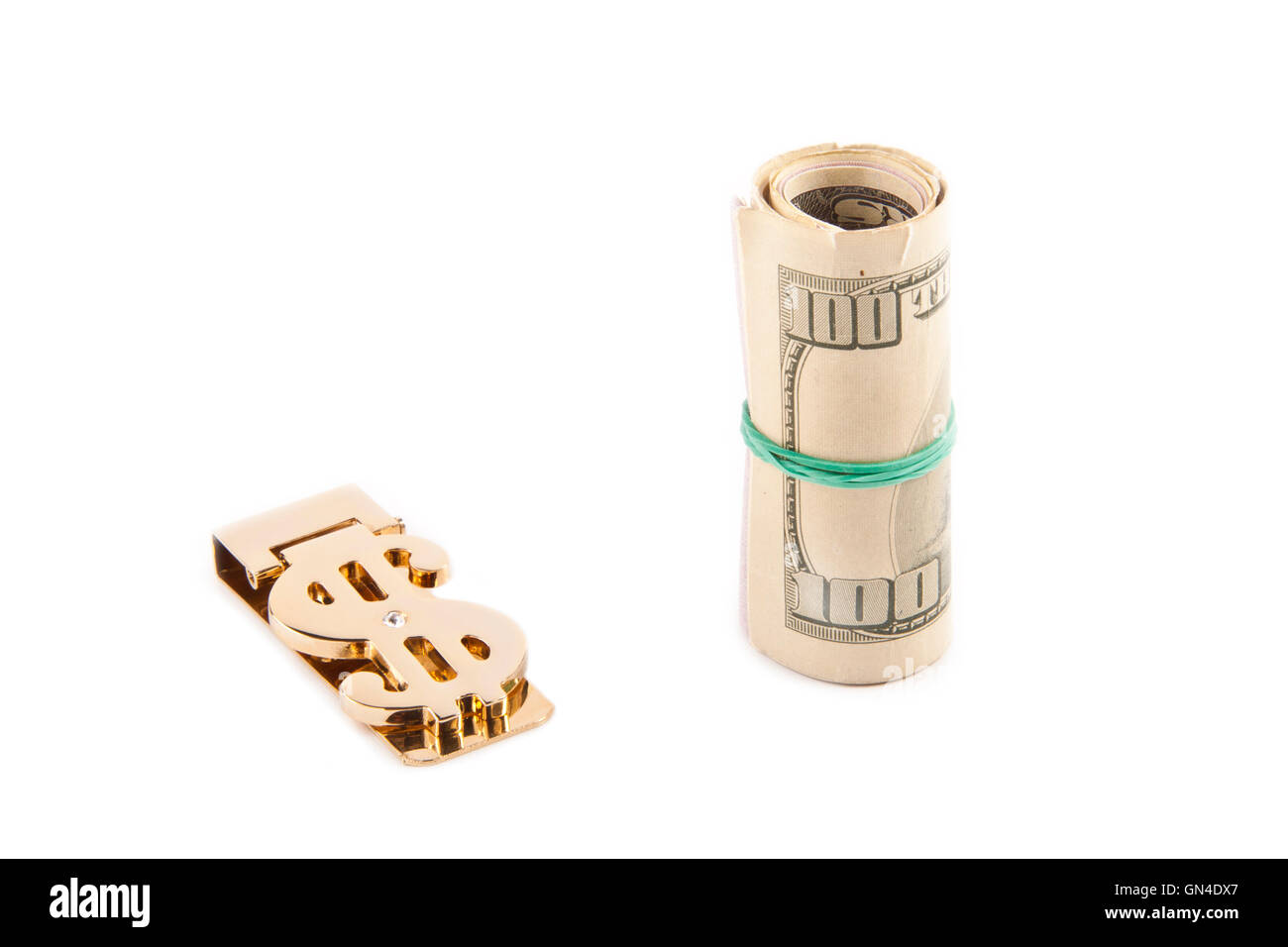 Rolled up paper dollar - Stock Image