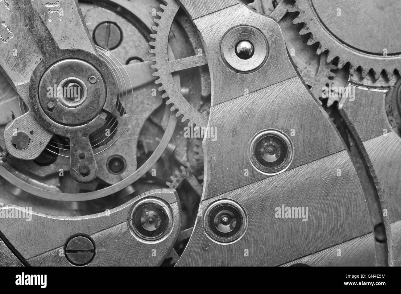 Black-and-white Metal Cogwheels in Clockwork, Macro. Concept Teamwork , Idea Technology - Stock Image