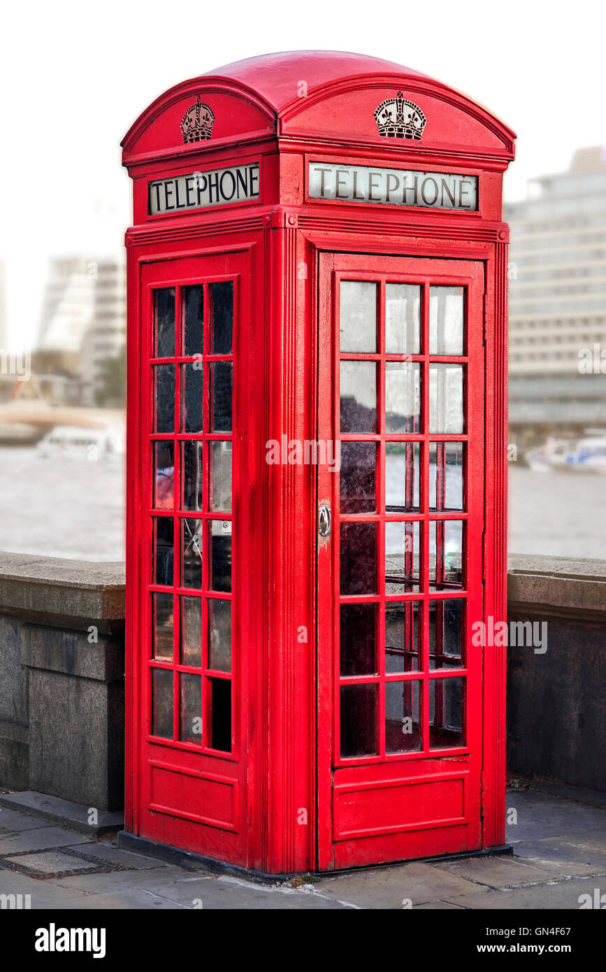 Red phone box in London, United Kingdom, - Stock Image