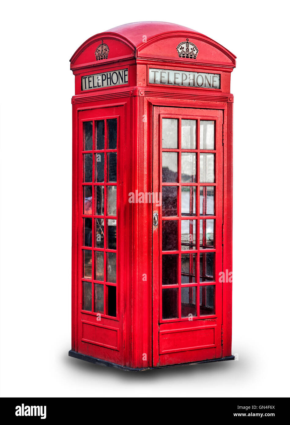 Red phone box in London over white background, United Kingdom, - Stock Image