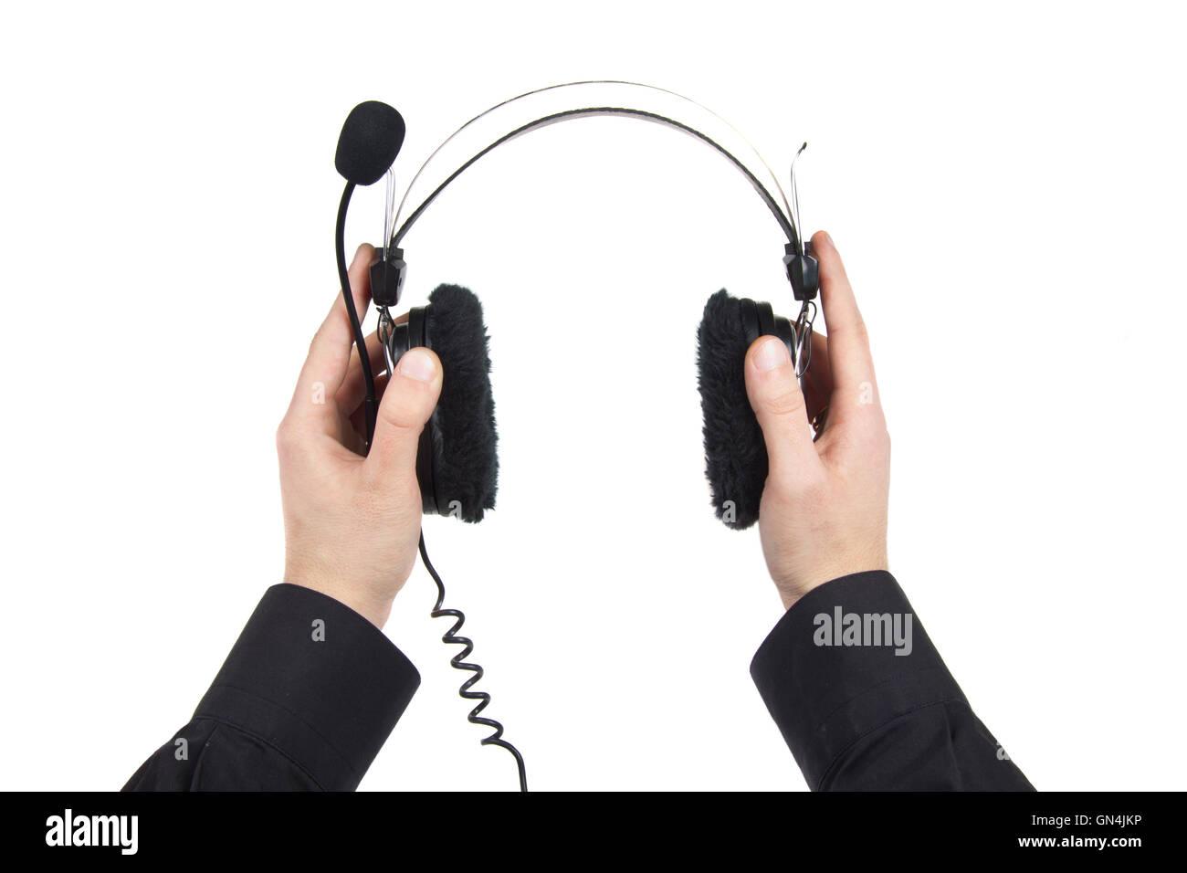 man holding nice headphones - Stock Image