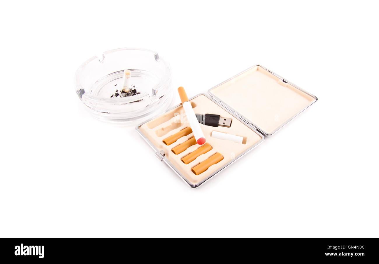 electric cigarette and a real cigarette concept - Stock Image