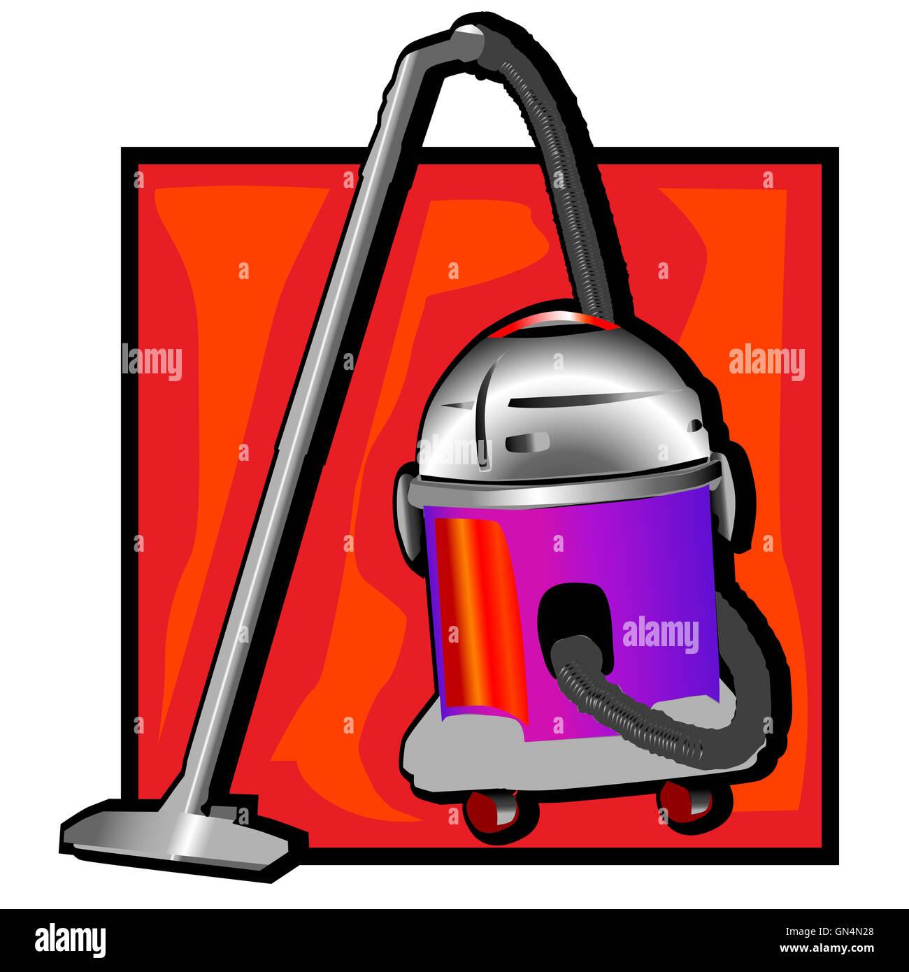 retro vacuum cleaner clip art - Stock Image