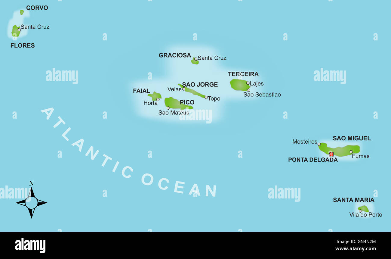 Portugal Islands Azores Map