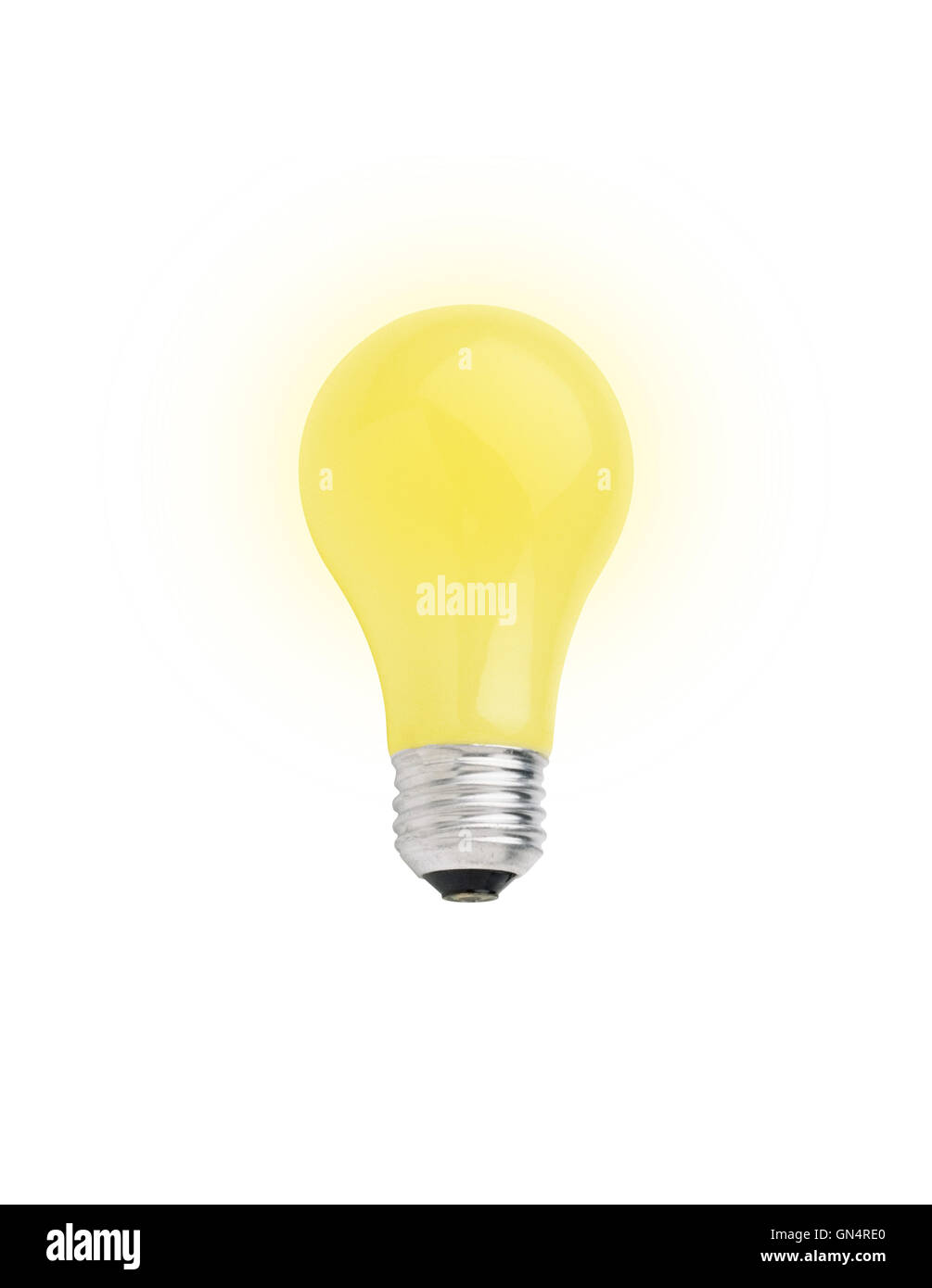 Yellow lightbulb isolated on white [with clipping path] - Stock Image