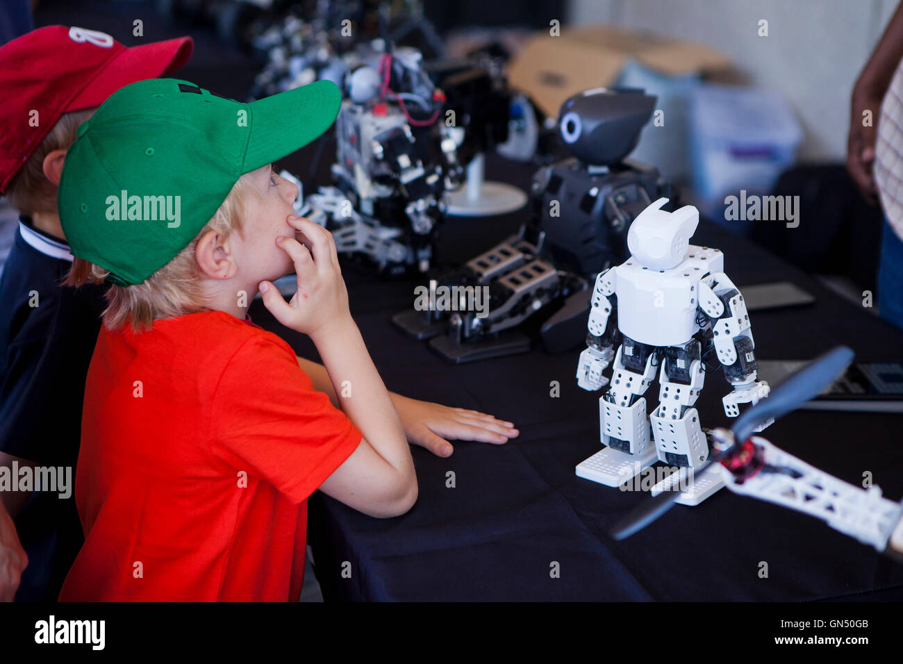 Young boy learning about Darwin-op humanoid robot - USA - Stock Image