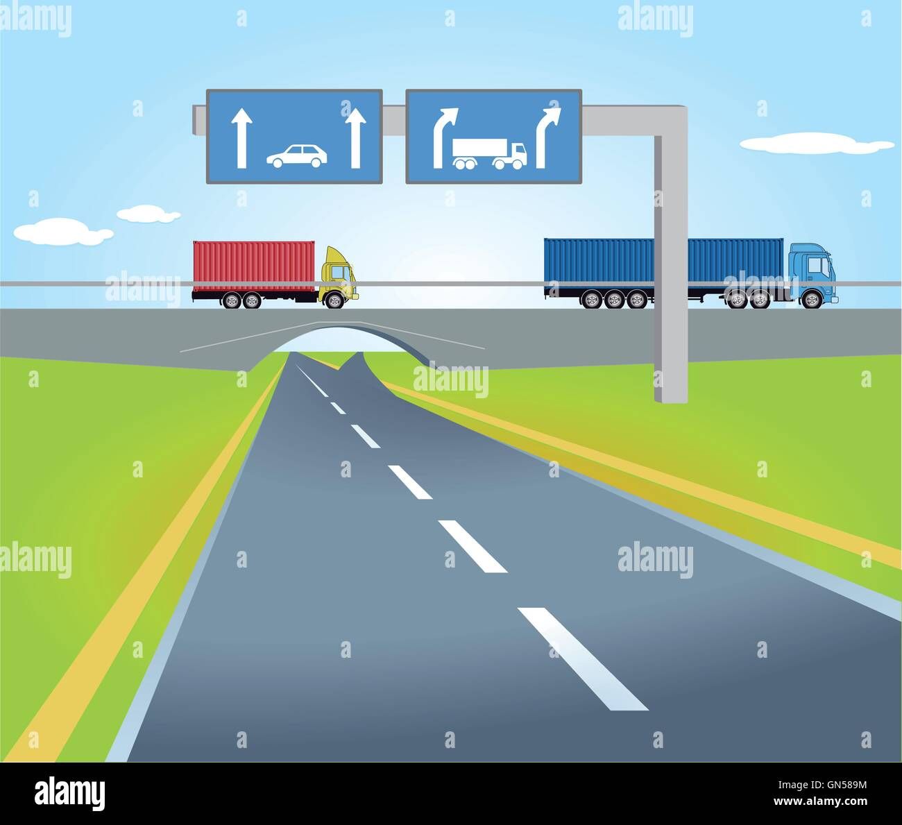 Highway with traffic signs Stock Vector