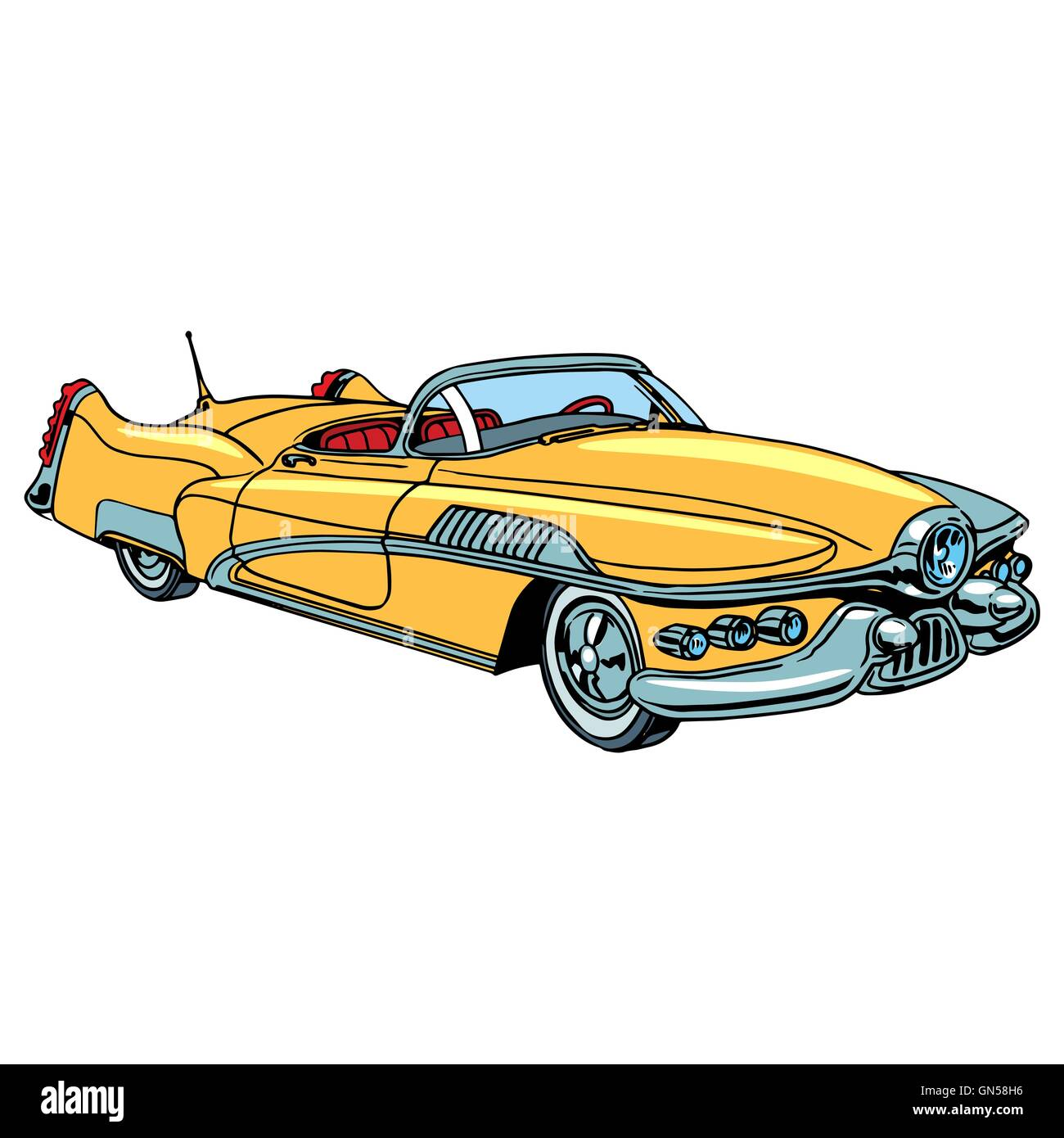 Retro yellow car classic abstract model - Stock Image