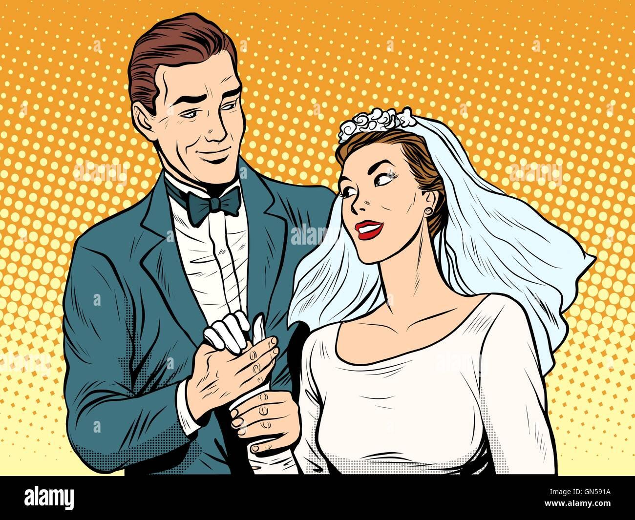 Wedding betrothal engagement groom bride love - Stock Image