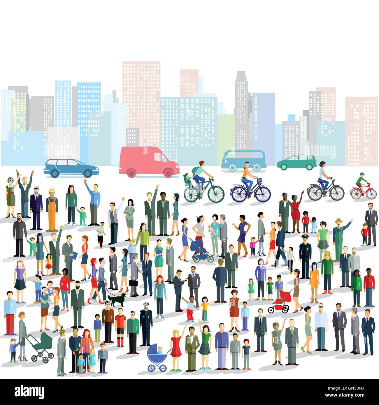 Groups of people in the city - Stock Vector