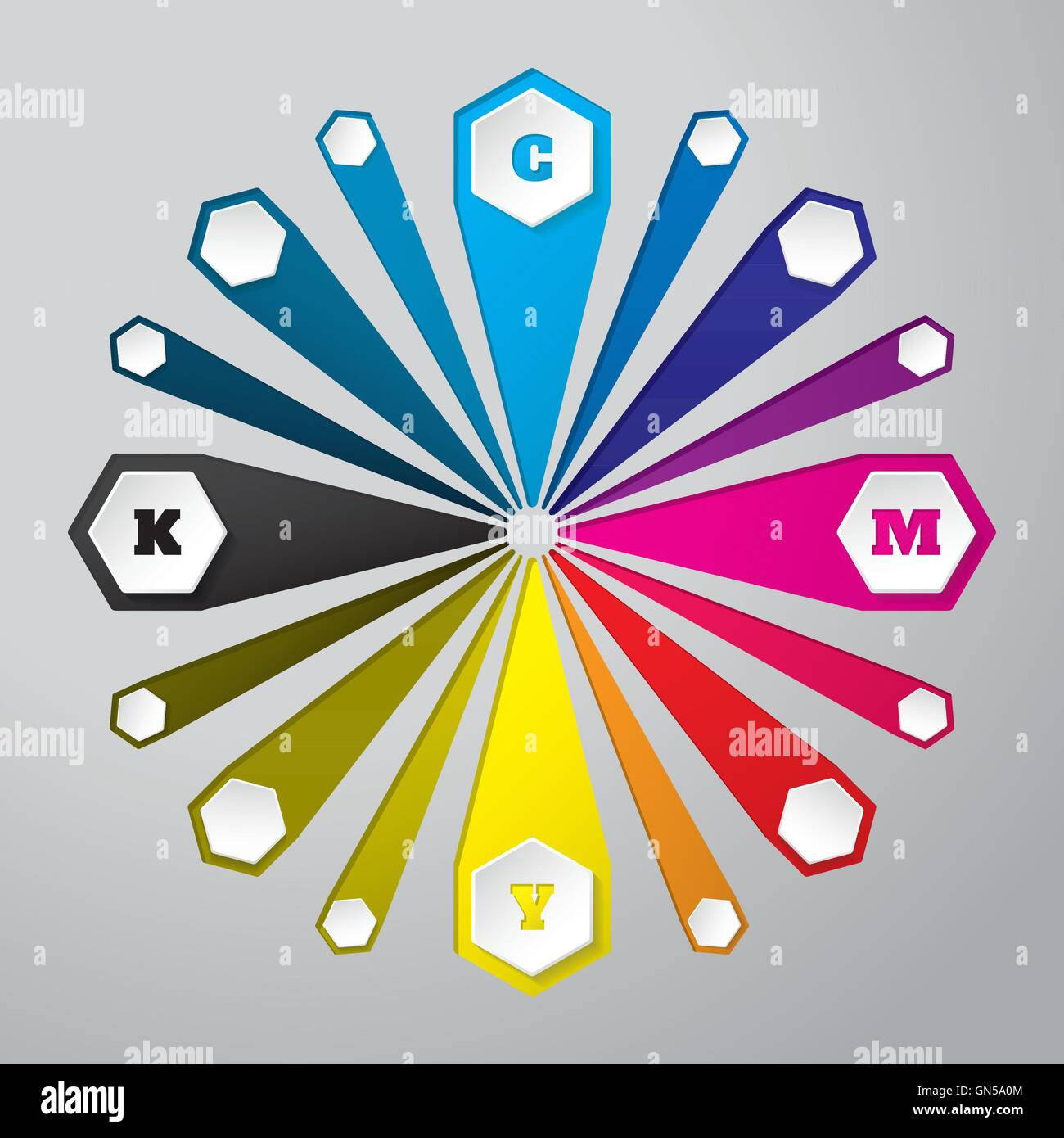 Cmyk wallpaper with 3d hexagons and color combinations - Stock Image