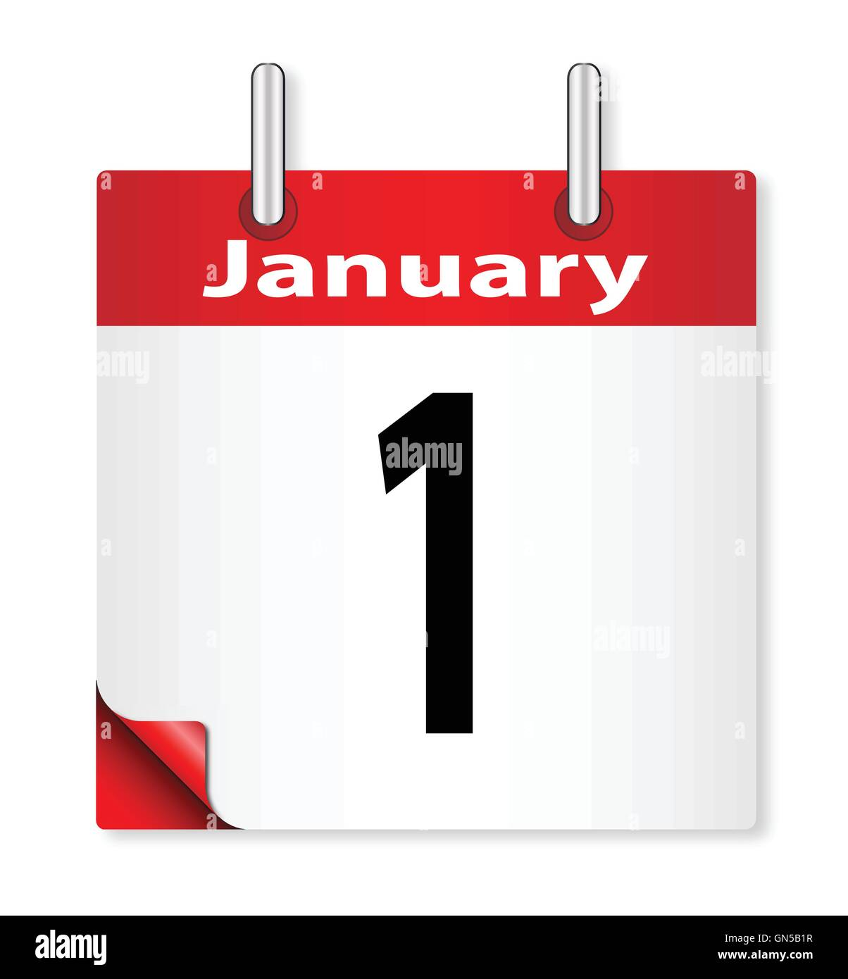 A calender date offering the 1st January - Stock Vector