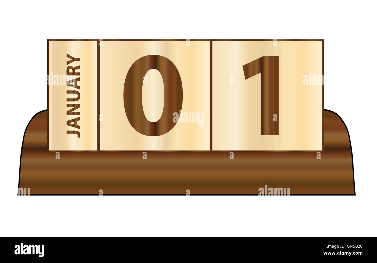 A typical wooden cube day and month calender over a white background - Stock Vector