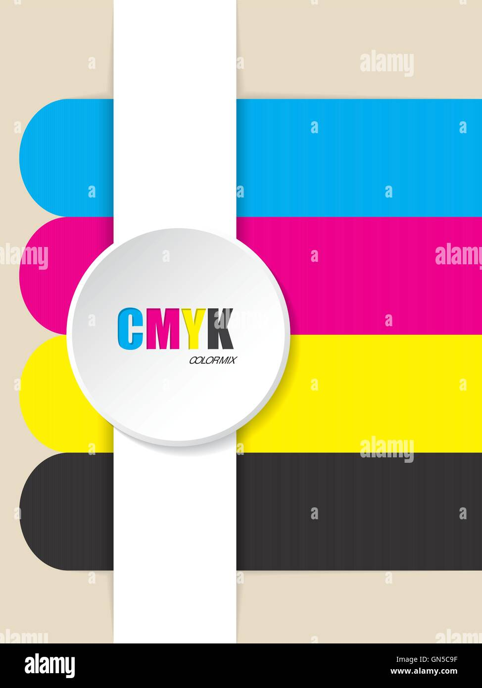 Abstract cmyk stripes background - Stock Image