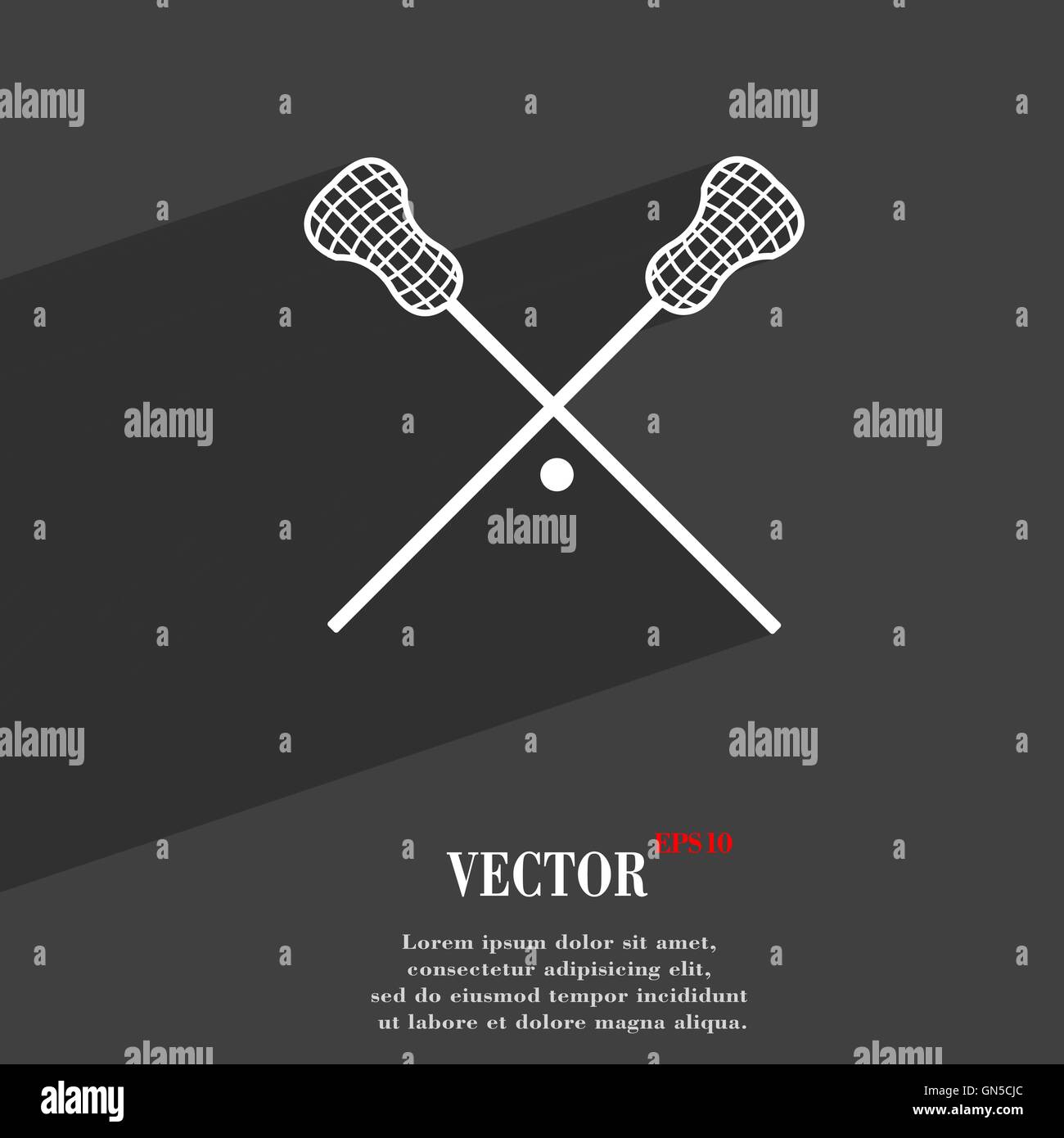 9fbb0135de0 Lacrosse Sticks crossed symbol Flat modern web design with long shadow and  space for your text