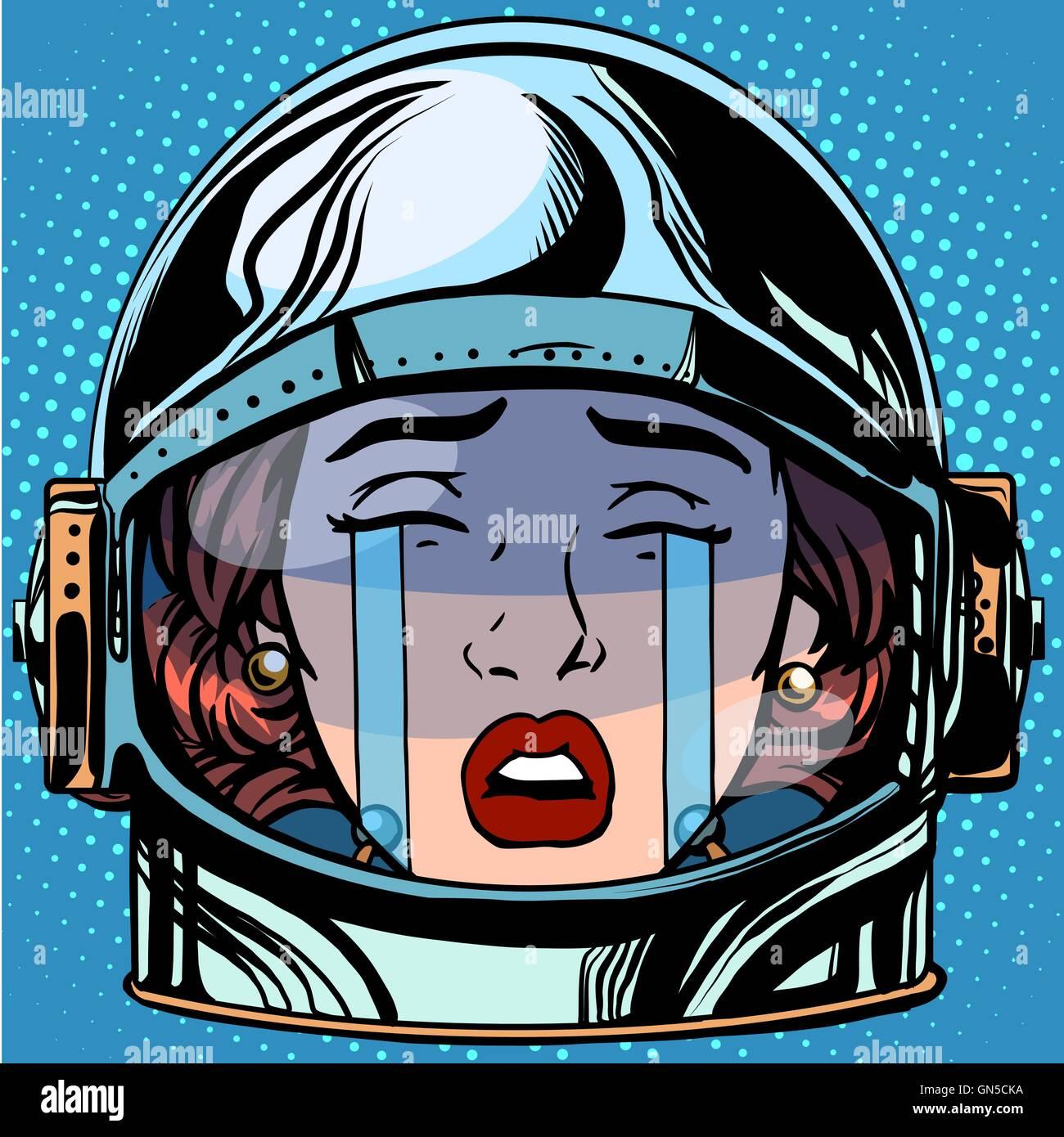 emoticon cry Emoji face woman astronaut retro Stock Vector