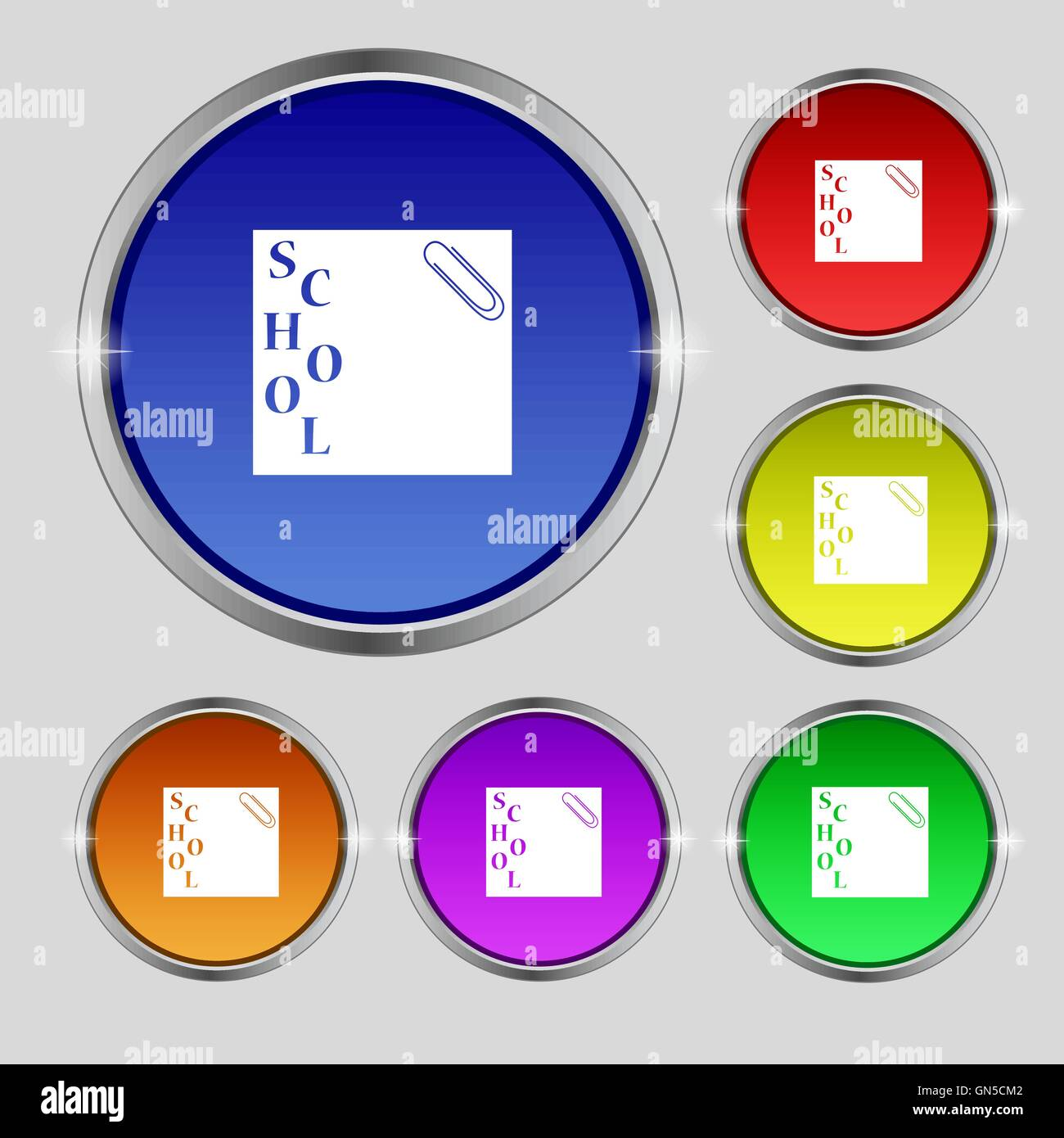 reminder sticker, note icon sign. Round symbol on bright colourful buttons. Vector - Stock Image