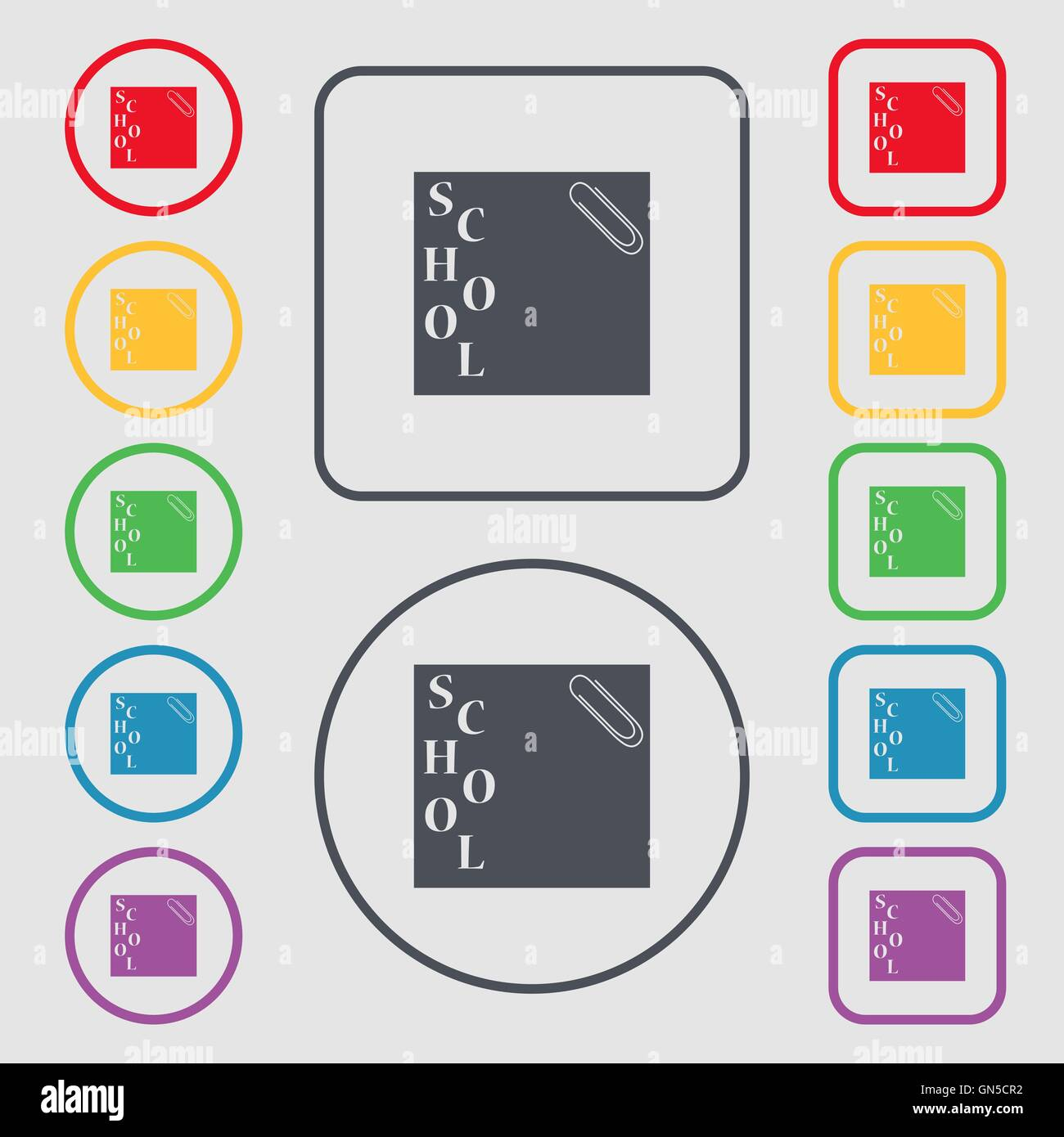 reminder sticker, note icon sign. symbol on the Round and square buttons with frame. Vector - Stock Image